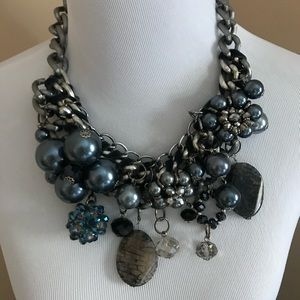 Handmade statement necklace gunmetal